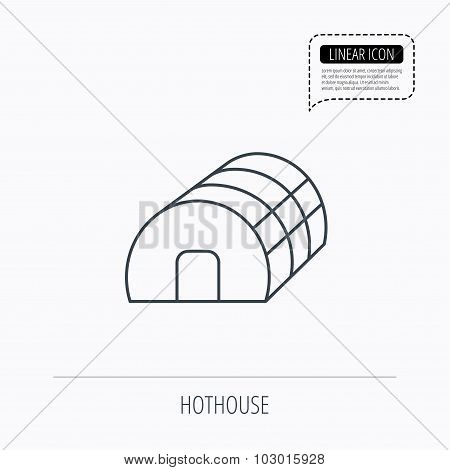 Greenhouse complex icon. Hothouse building sign.