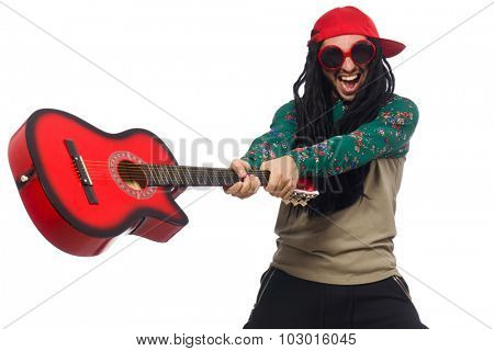 Man with guitar in musical concept on white
