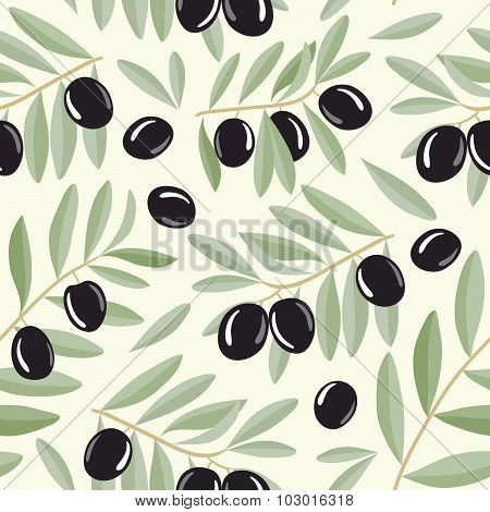Black olive branches seamless pattern