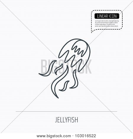 Jellyfish icon. Marine animal sign.