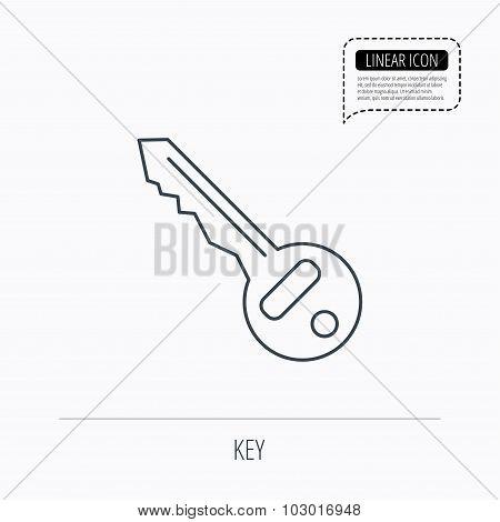 Key icon. Door unlock tool sign.