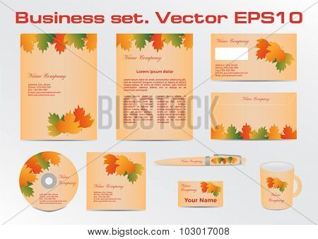 Business set. Vector templates with autumn decorative leaves.