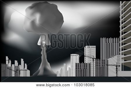 illustration with nuclear mushroom in grey city