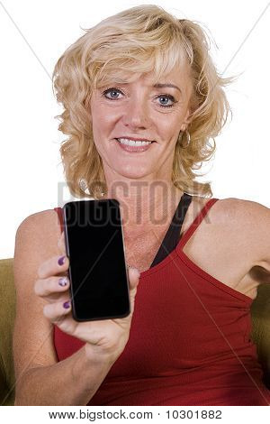 Beautiful Woman Holding A Cell Phone