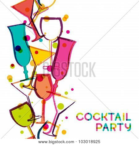 Abstract Multicolor Cocktail Glasses. Watercolor Seamless Vertical Vector White Background.