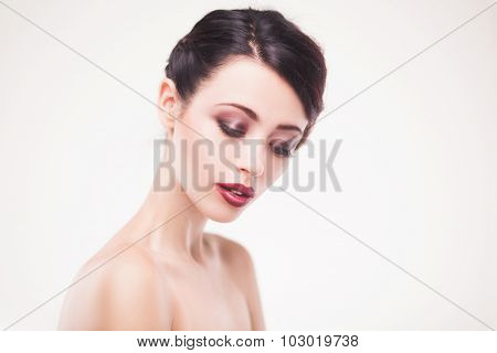 portrait of beautiful woman model with fresh daily makeup