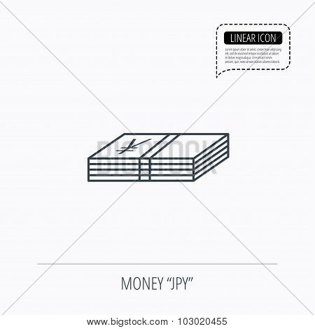 Cash icon. Yen money sign.