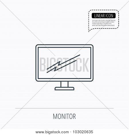 PC monitor icon. Led TV sign.
