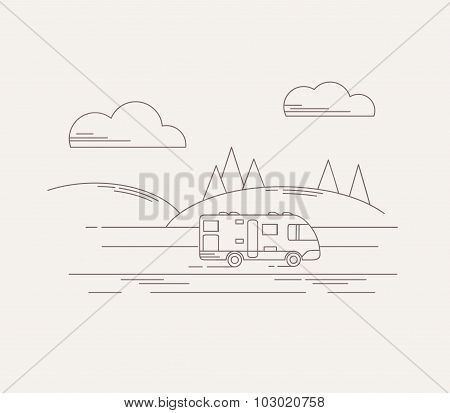 Travel illustration in linear style