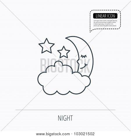 Night or sleep icon. Moon and stars sign.