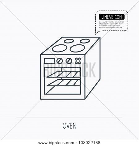 Oven icon. Electric stove sign.