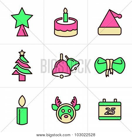 Icons Style Icons Set Christmas, Vector Design