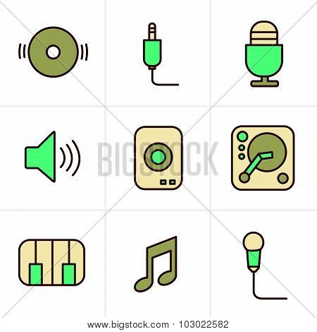 Icons Style Music Icons Set, Vector Design