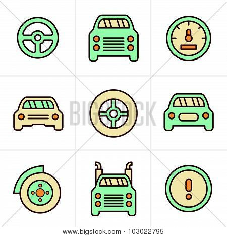 Icons Style Car Icons Set, Vector Design
