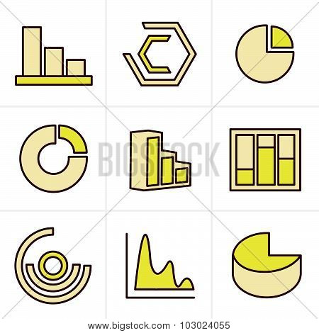 Icons Style Simple Set Of Diagram And Graphs Related Vector Icons For Your Design.