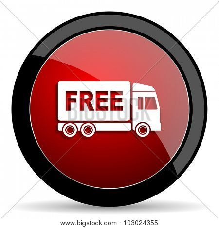 free delivery red circle glossy web icon on white background, round button for internet and mobile app