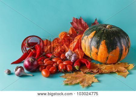 Colored Pumpkin And Fchili On Aquamarine Shadowless Background