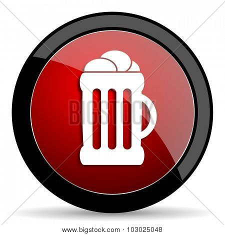 beer red circle glossy web icon on white background, round button for internet and mobile app