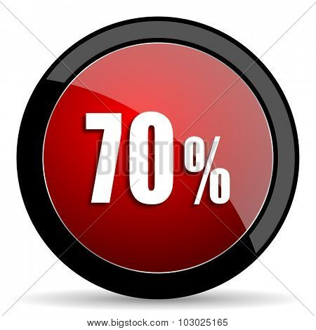 70 percent red circle glossy web icon on white background, round button for internet and mobile app