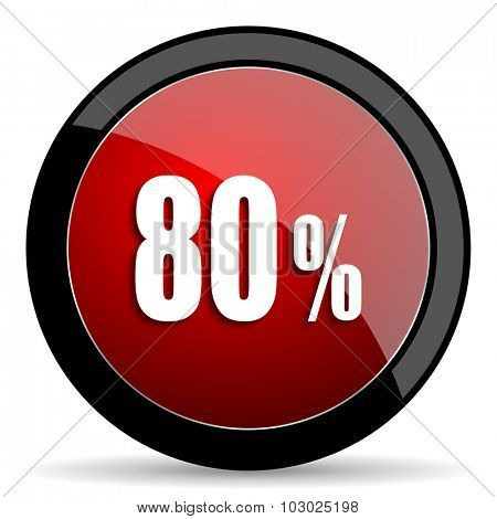 80 percent red circle glossy web icon on white background, round button for internet and mobile app