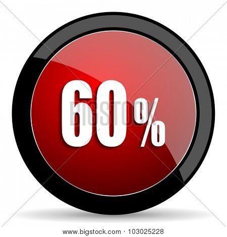 60 percent red circle glossy web icon on white background, round button for internet and mobile app
