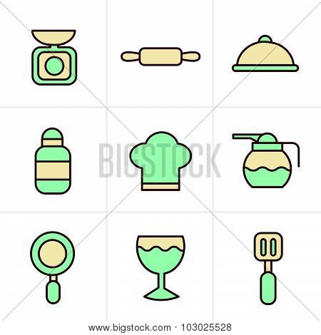 Icons Style Cooking Foods And Kitchen Outline Icons Set