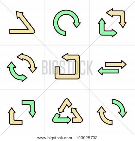 Icons Style Simple, Flat Design Recycle Symbols In Black Isolated On White Background