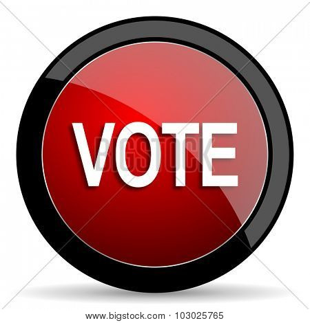 vote red circle glossy web icon on white background, round button for internet and mobile app