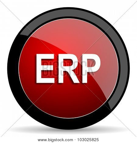 erp red circle glossy web icon on white background, round button for internet and mobile app