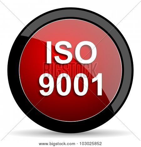 iso 9001 red circle glossy web icon on white background, round button for internet and mobile app