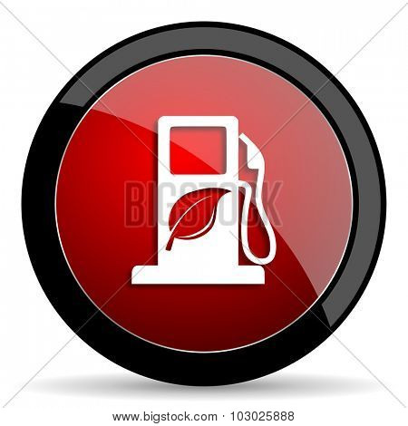 biofuel red circle glossy web icon on white background, round button for internet and mobile app