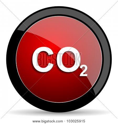 carbon dioxide red circle glossy web icon on white background, round button for internet and mobile app