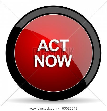 act now red circle glossy web icon on white background, round button for internet and mobile app