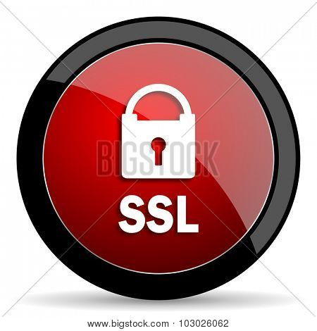 ssl red circle glossy web icon on white background, round button for internet and mobile app