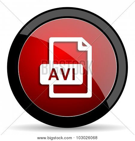 avi file red circle glossy web icon on white background, round button for internet and mobile app
