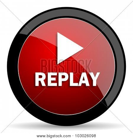 replay red circle glossy web icon on white background, round button for internet and mobile app