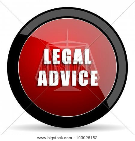 legal advice red circle glossy web icon on white background, round button for internet and mobile app