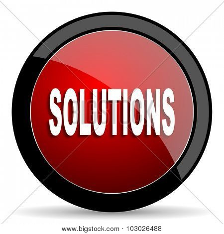 solutions red circle glossy web icon on white background, round button for internet and mobile app