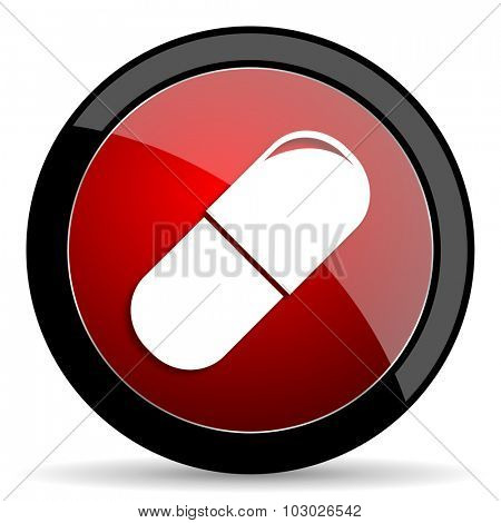 drugs red circle glossy web icon on white background, round button for internet and mobile app