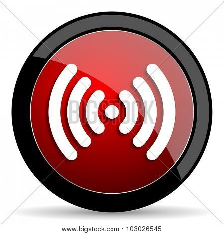 wifi red circle glossy web icon on white background, round button for internet and mobile app