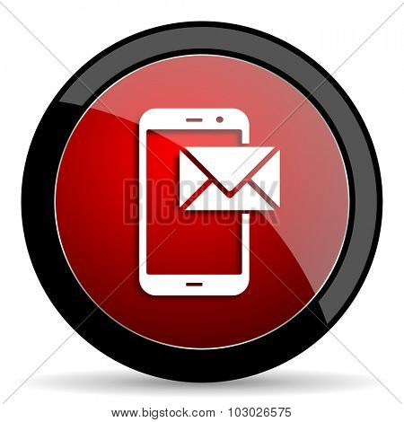 mail red circle glossy web icon on white background, round button for internet and mobile app