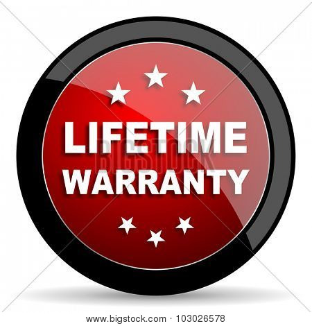 lifetime warranty red circle glossy web icon on white background, round button for internet and mobile app