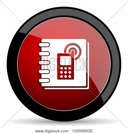 phonebook red circle glossy web icon on white background, round button for internet and mobile app
