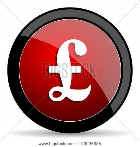 pound red circle glossy web icon on white background, round button for internet and mobile app