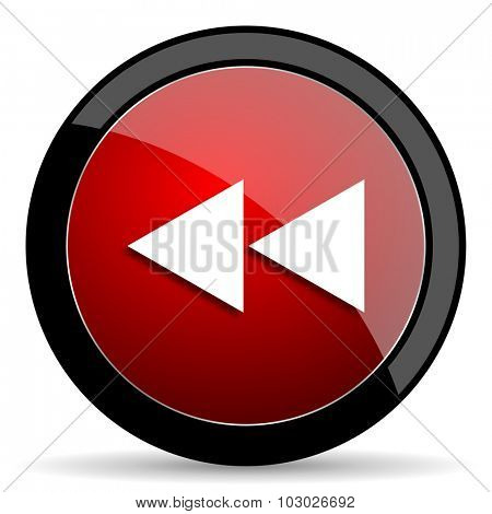 rewind red circle glossy web icon on white background, round button for internet and mobile app