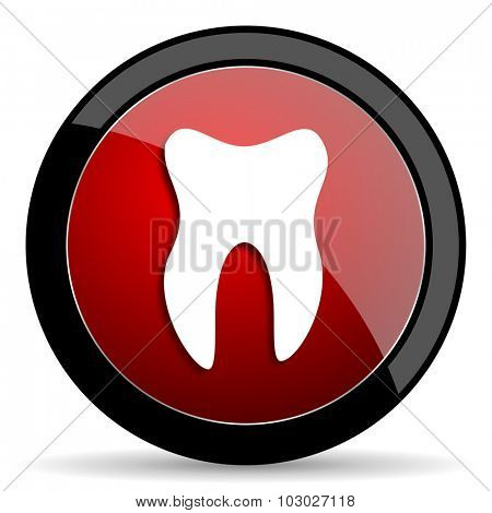tooth red circle glossy web icon on white background, round button for internet and mobile app