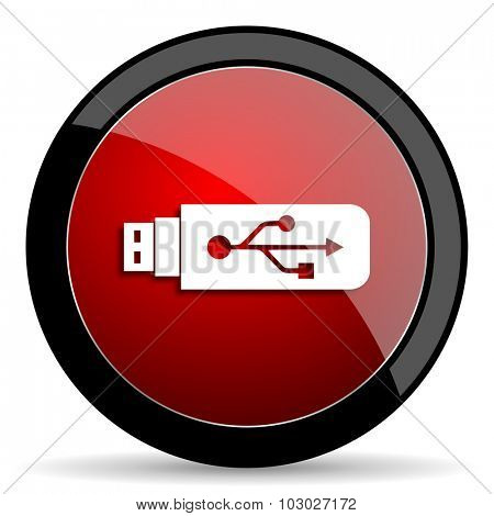 usb red circle glossy web icon on white background, round button for internet and mobile app