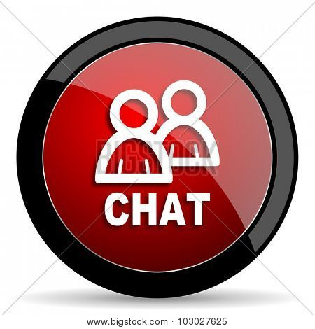 chat red circle glossy web icon on white background, round button for internet and mobile app