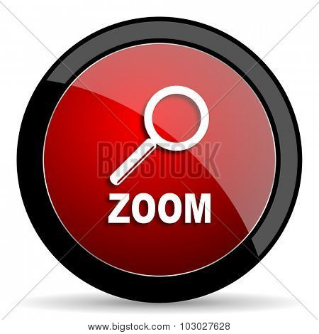 zoom red circle glossy web icon on white background, round button for internet and mobile app