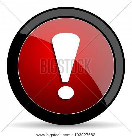 exclamation sign red circle glossy web icon on white background, round button for internet and mobile app